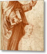 Profile Study Of A Standing Saint Holding A Book With Subsidiary Studies Of Three Additional Figures Metal Print