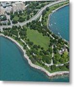 Promontory Point In Burnham Park In Chicago Aerial Photo Metal Print