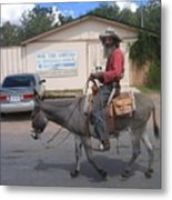 Prospector Re-enactor With Burro Passing Rose Bush Museum Sign Tombstone  Arizona 2004 Metal Print