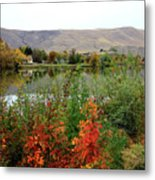 Prosser Autumn River With Hills Metal Print