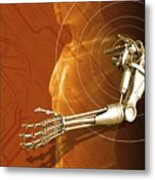 Prosthetic Robotic Arm, Computer Artwork Metal Print by Victor Habbick Visions