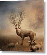 Deer Warm Tone Metal Print