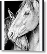 Protection In Black And White Metal Print