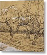 Provencal Orchard Arles  March - April 1888 Vincent Van Gogh 1853  1890 Metal Print