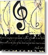 Psalm 40/3 Yellow Metal Print