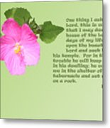 Psalm Twenty Seven Vs Four To Five With Pink Evening Primrose Metal Print