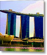 Psychedelic Marina Bay Sands Hotel Singapore Metal Print