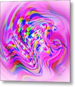 Psychedelic Swirls On Lollypop Pink Metal Print