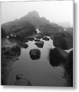 Puddle On A Misty Hill Metal Print