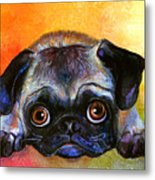 Pug Dog Portrait Painting Metal Print