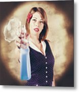 Pump Action Pin Up Woman Killing Glass Grime Metal Print