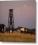 Pump Jack Golden Hour Metal Print