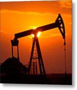 Pumping Oil Rig At Sunset Metal Print