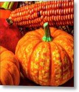 Pumpkin Corn Still Life Metal Print
