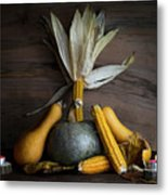 Pumpkin, Corncob, Autumn Leaves And Burning Candles Decoration O Metal Print