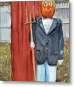 Pumpkin Farmer Metal Print