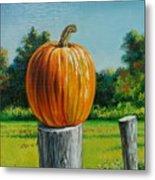 Pumpkin Post Metal Print