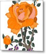 Pumpkin Rose And Violas Metal Print