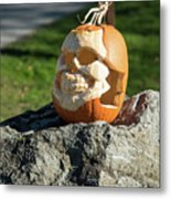 Pumpkin Skull Metal Print