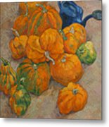 Pumpkins And Watering Can Metal Print