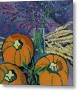 Pumpkins And Wheat Metal Print