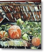 Pumpkins On Roof Metal Print