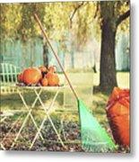 Pumpkins On The Table Metal Print