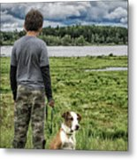 Puppy Guard Majestic Forest Metal Print