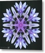 Purple And White Frosted Queen Mandala Metal Print