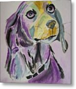 Purple Beagle Metal Print