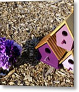 Purple Birdhouses 2 Metal Print