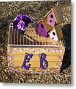 Purple Birdhouses 3 Metal Print
