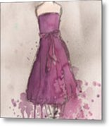 Purple Bow Dress Metal Print