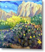 Purple Cactus With Yellow Flower Metal Print