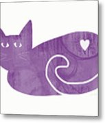 Purple Cat- Art By Linda Woods Metal Print