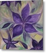 Purple Clematis Abstract Metal Print