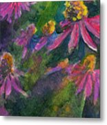 Purple Cone Flowers Outside Beye School Metal Print