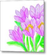 Purple Crocuses, Painting Metal Print