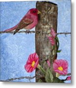 Purple Finch And Morning Glories Metal Print