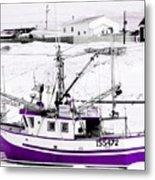 Purple Fishing Boat Metal Print