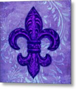 Purple French Fleur De Lys, Floral Swirls Metal Print
