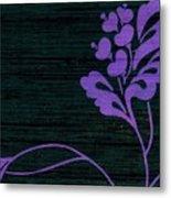 Purple Glamour On Black Weave Metal Print