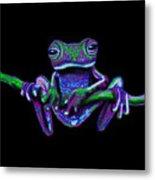 Purple Green Ghost Frog Metal Print