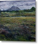 Purple Heather And Mount Errigal From Dore Co. Donegal Ireland   Metal Print
