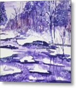 Purple Ice On Kaaterskill Creek Metal Print