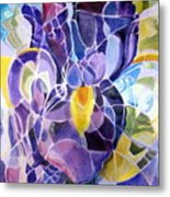 Purple Irises Metal Print by Therese AbouNader