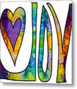 Purple Joy Abstract Inspirational Words Artwork By Omaste Witkow Metal Print