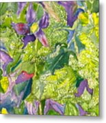 Purple Lillies And Baby's Breath Metal Print