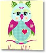 Purple Owl Metal Print
