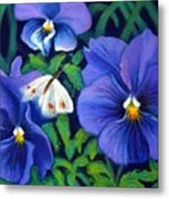 Purple Pansies And White Moth Metal Print